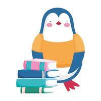 regreso a la escuela, pingüino, libros apilados, estudiante, caricatura vector