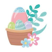 happy easter day, basket with eggs flowers leaves foliage decoration