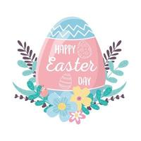 happy easter day, lettering in egg decoration flowers leaves foliage
