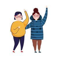 mujer joven agitando las manos juntas personaje