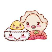 kawaii rice roll meat dumpling and cookie food japanese cartoon, sushi and rolls