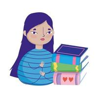 young woman with stack books, book day