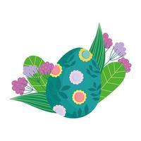 feliz huevo de pascua verde decorado con flores y hojas de follaje