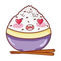 kawaii adorable rice in bowl food japanese cartoon, sushi and rolls vector