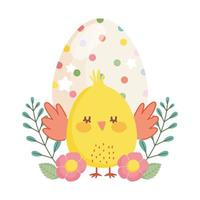 happy easter little chicken dotted egg flowers decoration cartoon vector