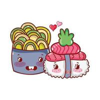 kawaii sushi and salad salmon wasabi food japanese cartoon, sushi and rolls