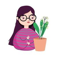 young woman with glasses and potted plant decoration
