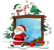 Marco de madera en blanco con santa claus en tema navideño sobre fondo blanco.