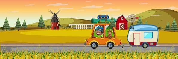Children on roadtrip in horizontal farm scene at sunset time vector