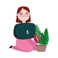 mujer joven, de rodillas, con, planta en maceta vector