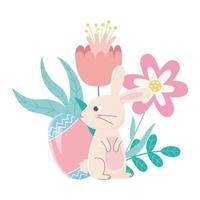 feliz día de pascua, huevo de conejo flores folaige deja decoración