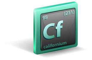 elemento químico californio. símbolo químico con número atómico y masa atómica.