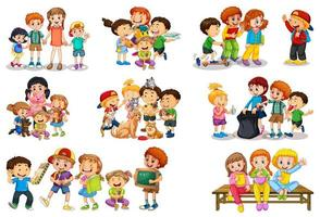Set of different kid playing with their toys cartoon character isolated on white background vector