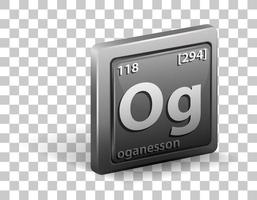 elemento químico oganesson. símbolo químico con número atómico y masa atómica.