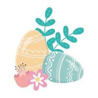 feliz día de pascua, huevos pintados adorno flores follaje decoraiton
