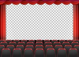 Red curtains in theater with transparent background vector