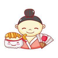 geisha suhsi kawaii food japanese fan cartoon, sushi and rolls vector