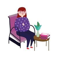 young woman sitting in chair side table with books and flower, book day vector