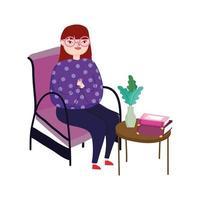 mujer joven, sentado, en, silla, mesilla lateral, con, libros, y, flor, libro, día vector