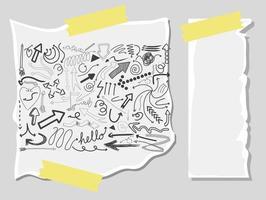 diferentes trazos de doodle en un papel con papel en blanco vector