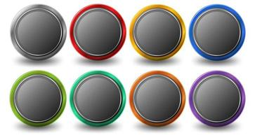 Set of rounded circle button with metal frame isolated on white background vector