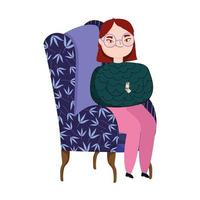 young woman in green sofa furniture isolated icon vector
