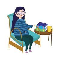 Mujer joven sentada en una silla y una mesa con libros taza de café, día del libro