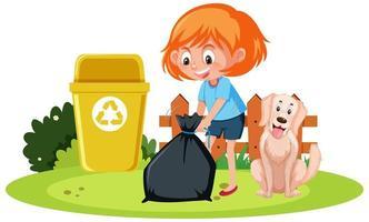 Una niña sosteniendo basura con un perro sobre fondo blanco. vector