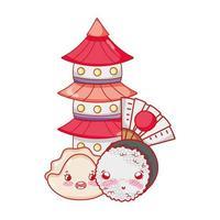 kawaii sushi pagoda and japanese cartoon, sushi and rolls vector