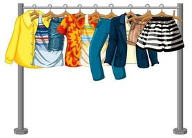 Many clothes hanging on a clothes rack on white background vector