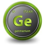 elemento químico del germanio. símbolo químico con número atómico y masa atómica.