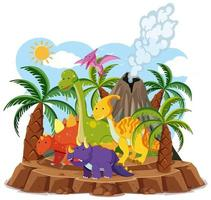 Cute dinosaurs with volcano erupting isolated on white background vector