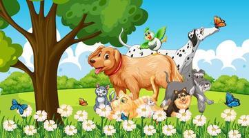 grupo de mascotas en la escena del parque