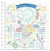Set of science element doodle on paper