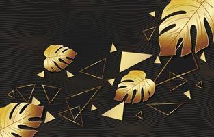Gold Polygonal Leaf Background vector
