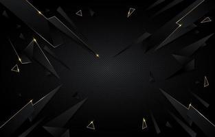 Fondo poligonal abstracto negro y dorado vector