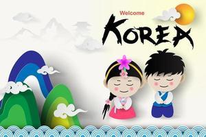 bienvenido viajes turismo corea tradicional niño y niña vector