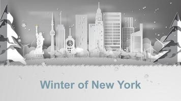 Paper art banner with New York City skyline