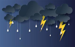 Paper art and craft style clouds and rain banner background vector