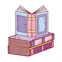 día del libro, libro de texto abierto en la pila de libros diseño de icono aislado