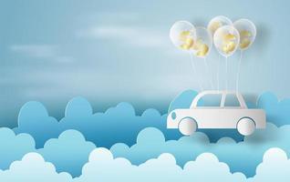 Arte de papel de globos como nubes en banner de cielo azul con coche vector