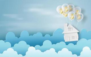 Arte de papel de globos como nubes en banner de cielo azul con casa vector