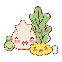 kawaii chicken tempura vegetables and dumpling japanese cartoon, sushi and rolls