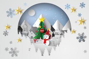 arte y artesanía en papel con árbol de navidad vector