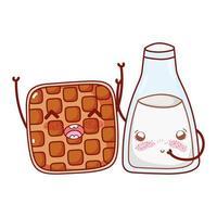 fast food cute waffle and milk bottle cartoon character vector
