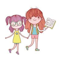 cute girl with glasses and girl with open book isolated icon vector