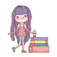 little girl with smoothie and stacked books isolated design