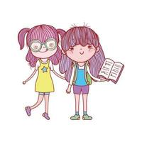 cute girl with glasses and girl with open book isolated icon