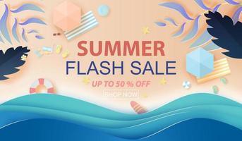 Banner de venta de verano de arte de papel con fondo de vista superior de playa
