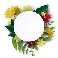 Paper art with floral wreath frame vector